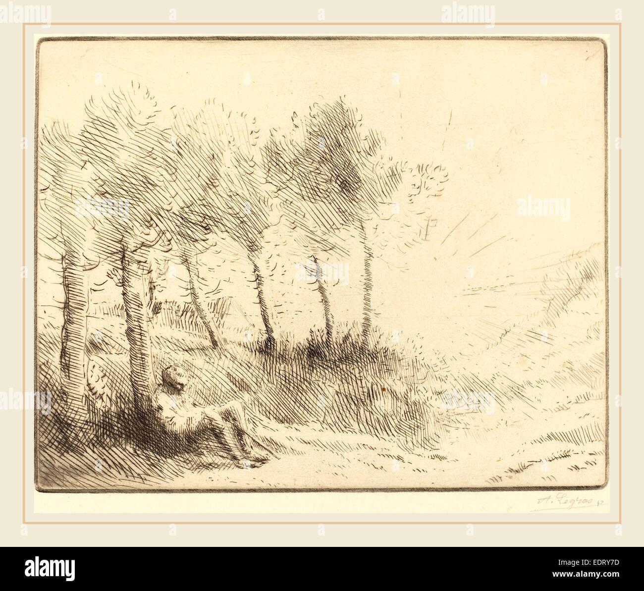 Alphonse Legros, Landscape (Paysage), French, 1837-1911, etching - Stock Image