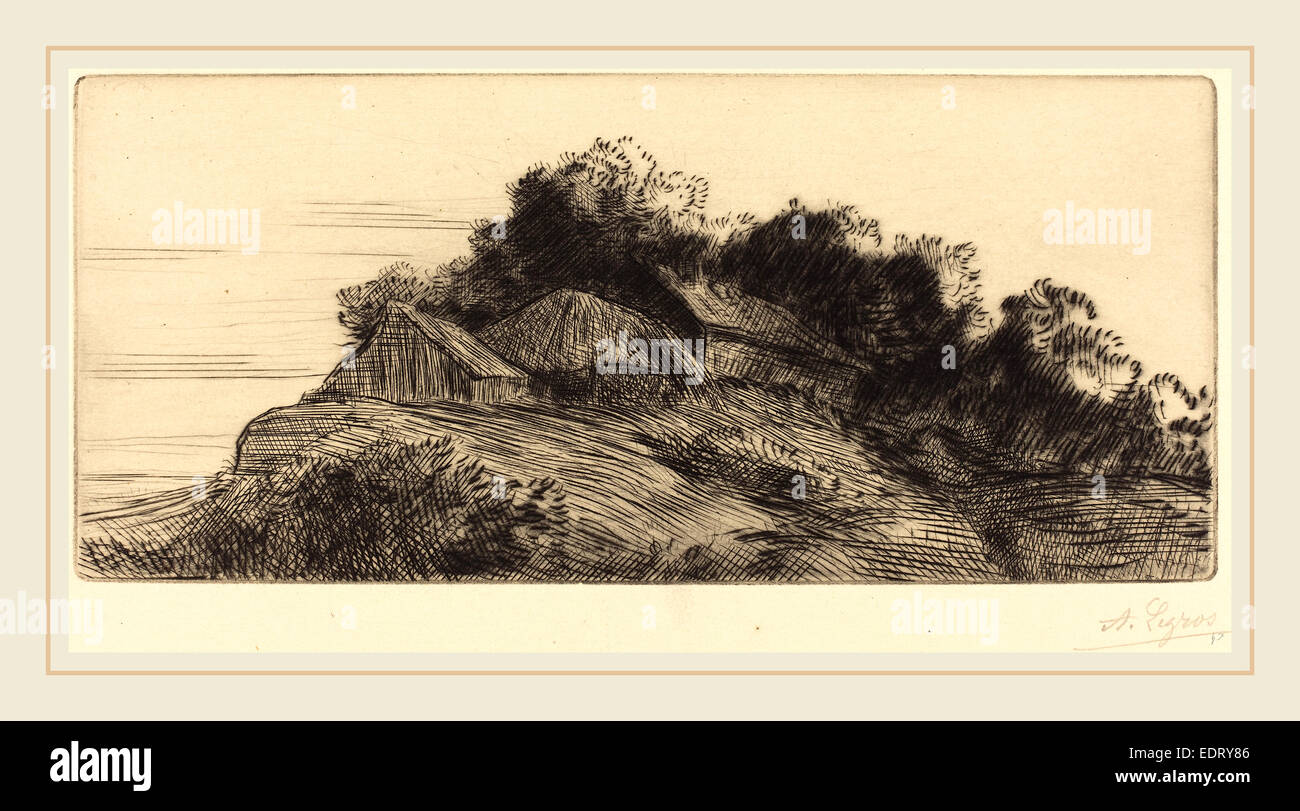 Alphonse Legros, Landscape (Paysage), French, 1837-1911, etching and drypoint - Stock Image