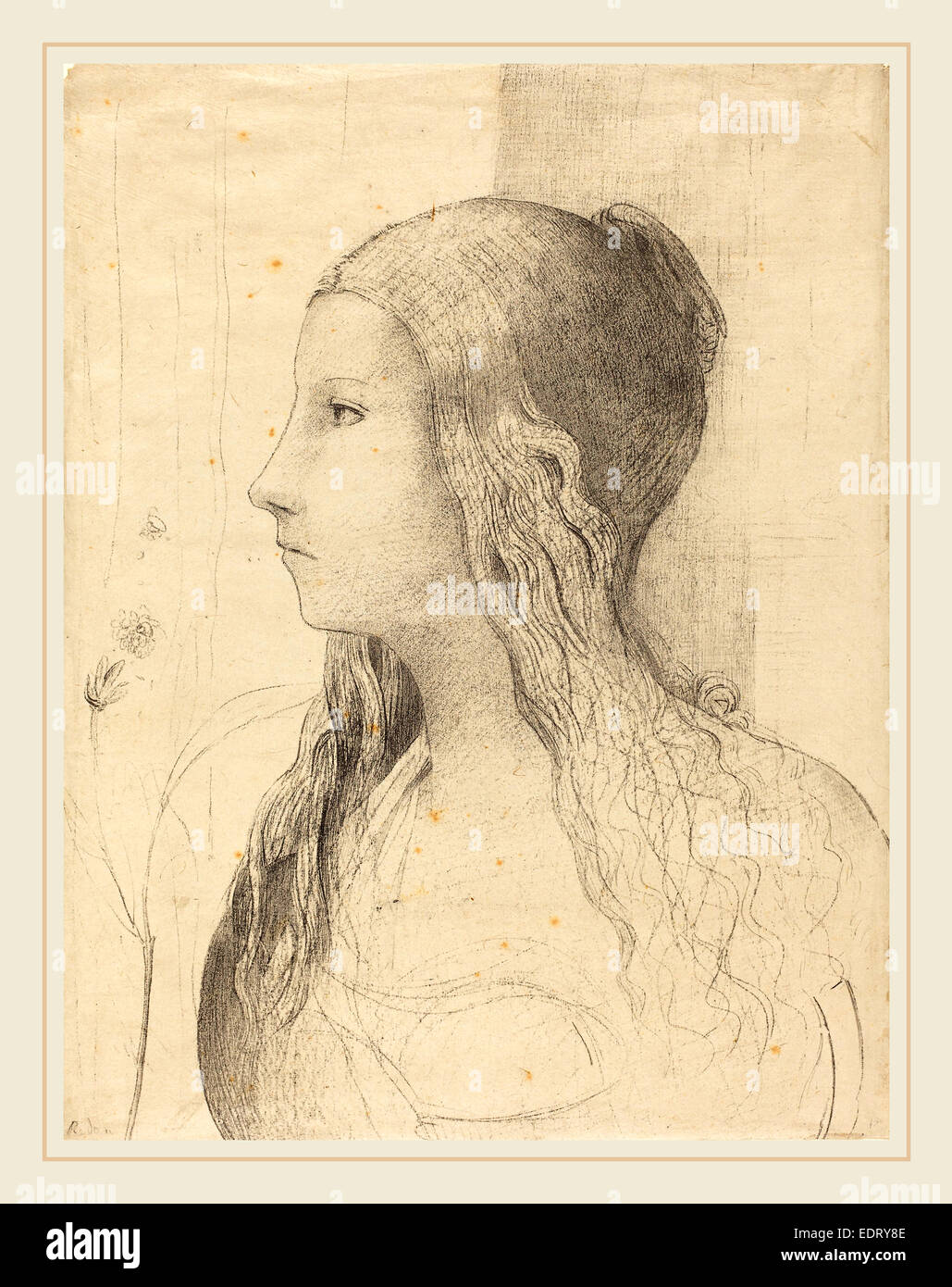 Odilon Redon (French, 1840-1916), Brunnhilde, 1894, lithograph - Stock Image