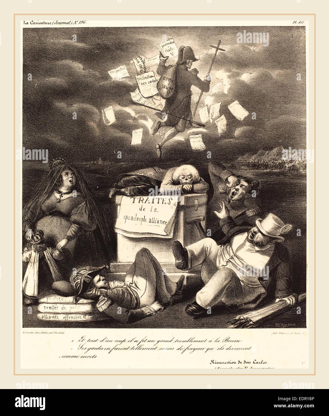 Benjamin Roubaud, Résurrection de don Carlo, 1830s, lithograph - Stock Image