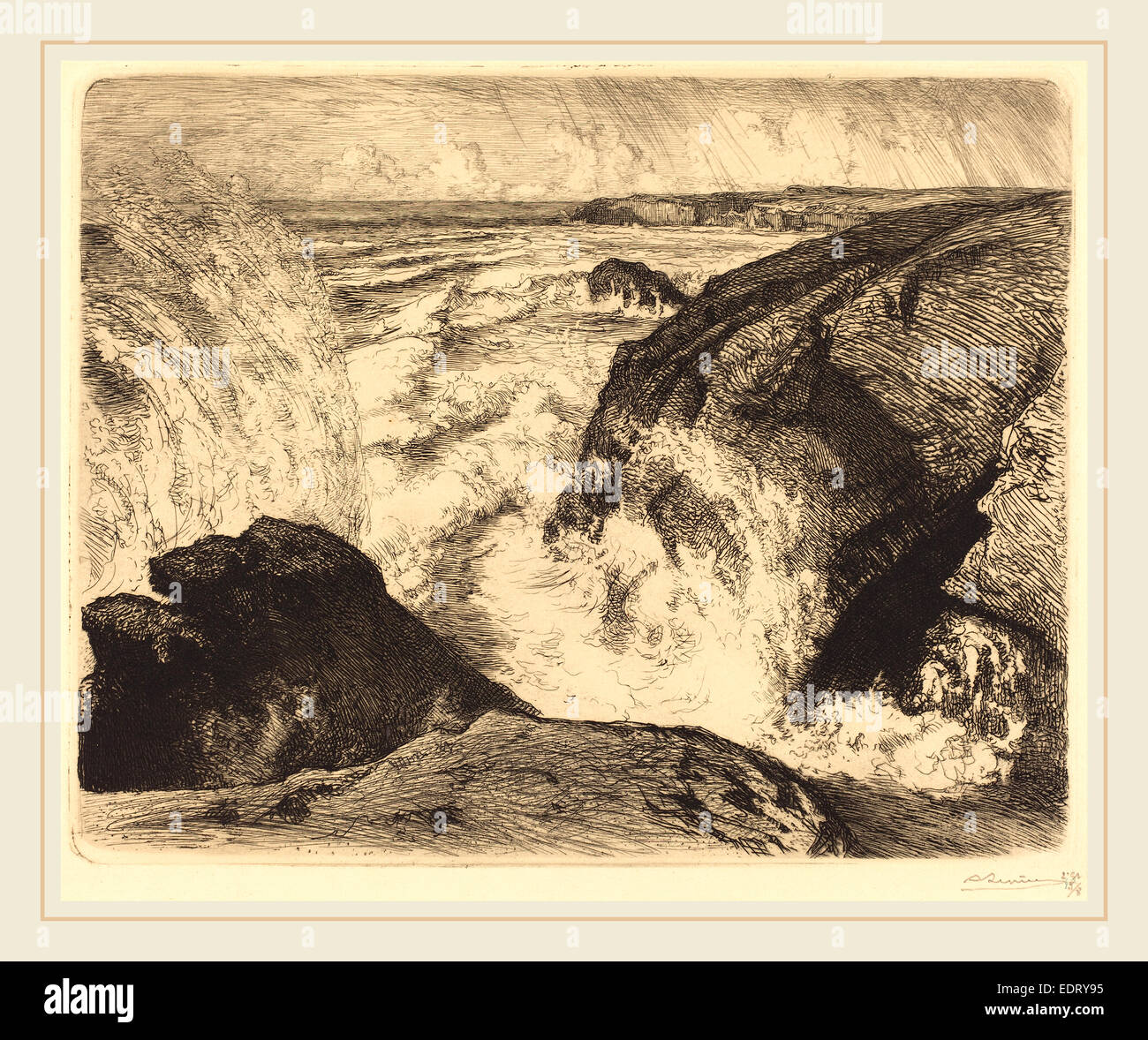 Auguste Lepère, Spring Tide, Rocks of Zion (Grande maree, rochers de Sion, Vendee), French, 1849-1918, 1907, - Stock Image