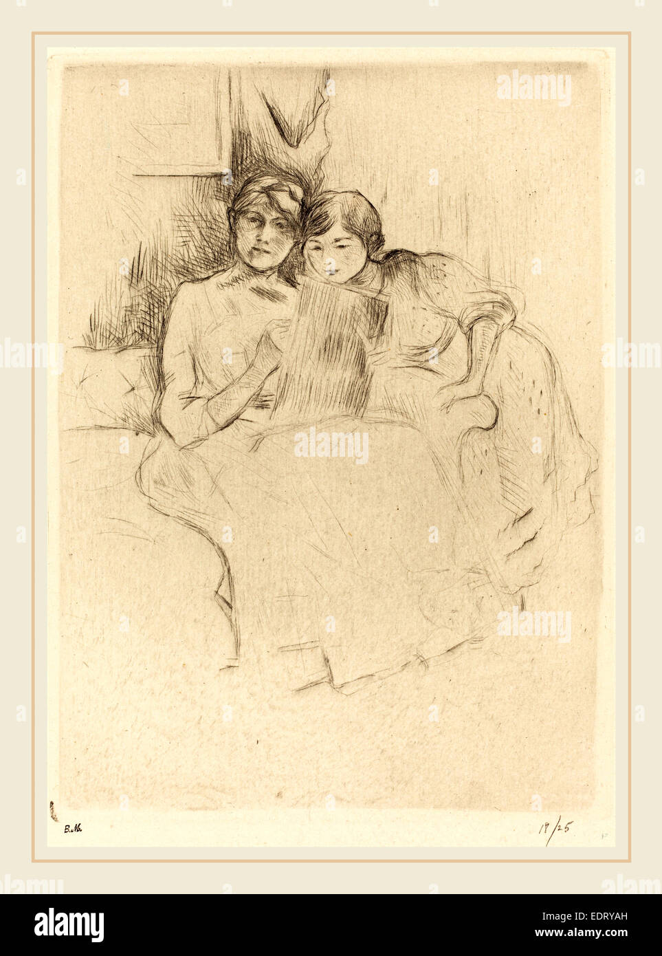 Berthe Morisot (French, 1841-1895), The Drawing Lesson, 1888-1890, drypoint [reprinted by Ambroise Vollard] - Stock Image