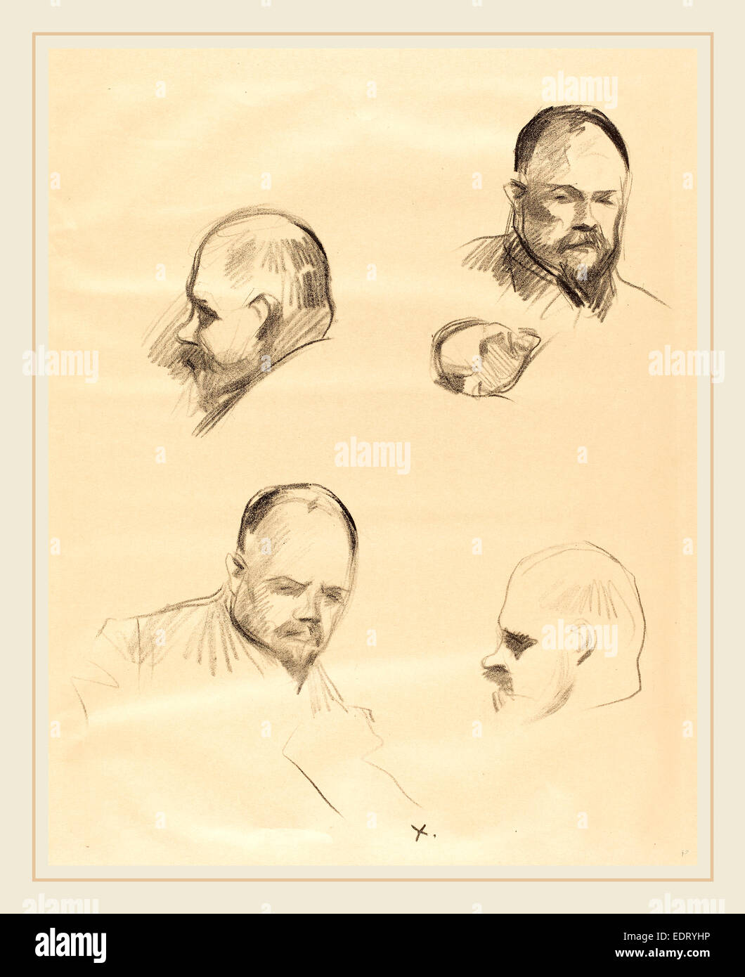 Jean-Louis Forain, Four Sketches of Ambroise Vollard, French, 1852-1931, c. 1910, lithograph - Stock Image