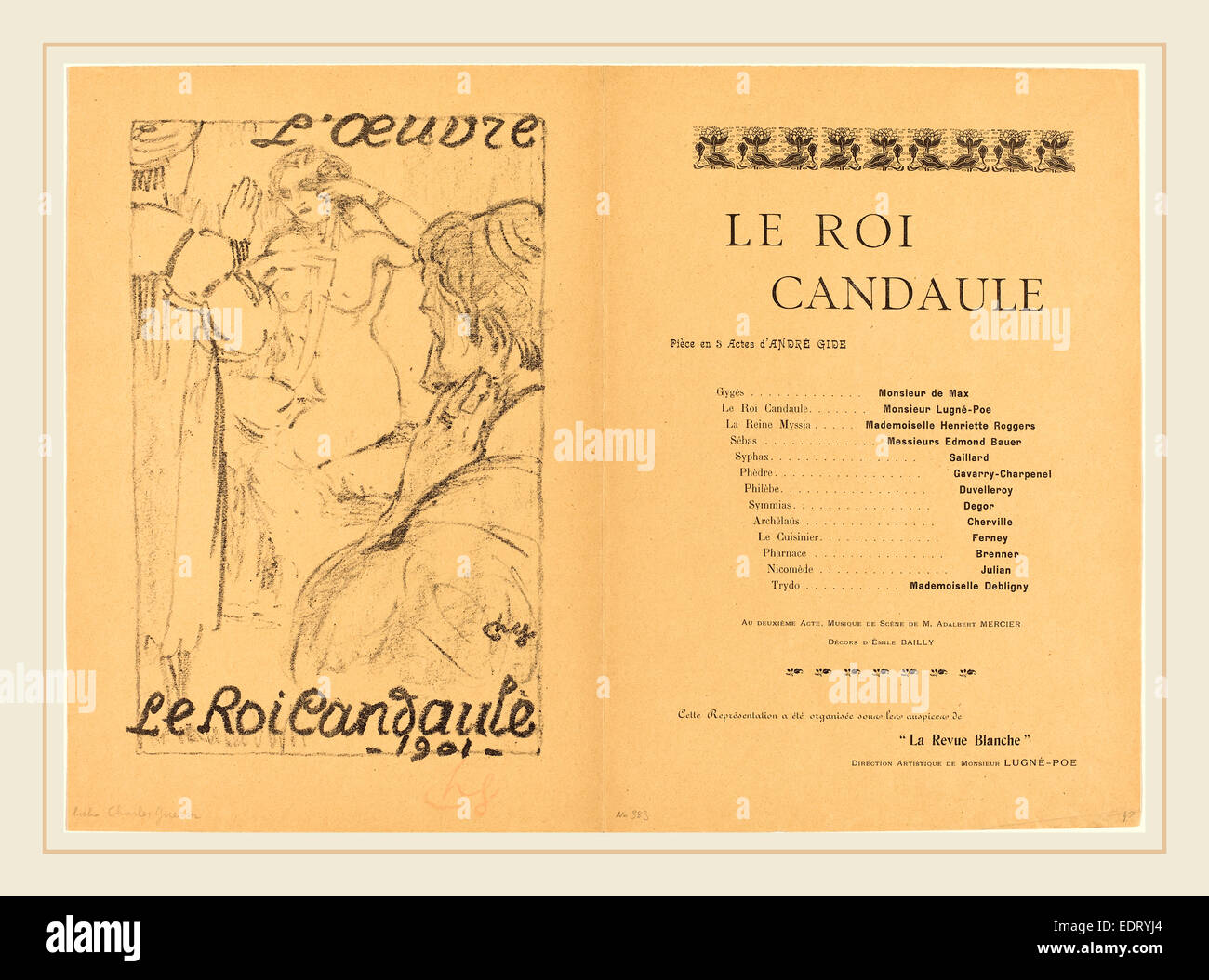 Charles Guérin, Le Roi Candaule, French, 1875-1939, 1901, lithograph in black on wove paper - Stock Image