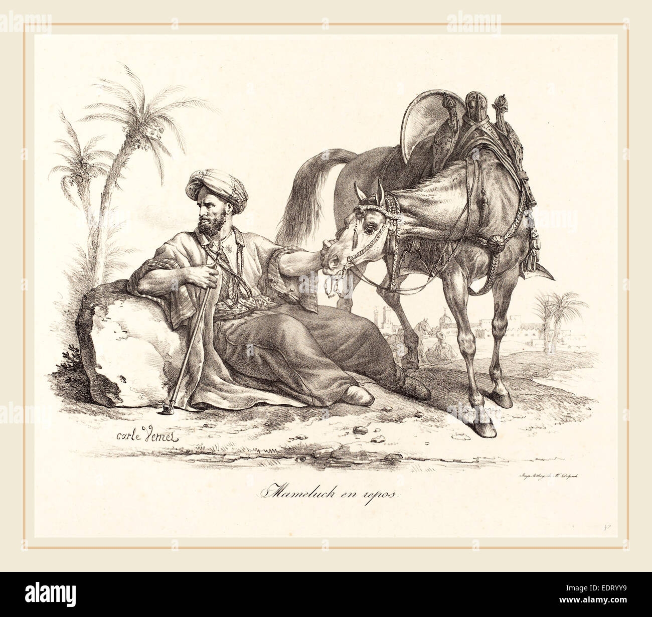 Carle Vernet (French, 1758-1836), A Mameluck Resting, lithograph - Stock Image