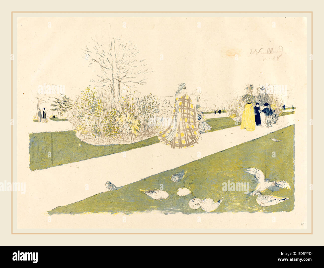 Edouard Vuillard (French, 1868-1940), The Tuileries Garden (Le jardin des Tuileries), published 1896, color lithograph - Stock Image