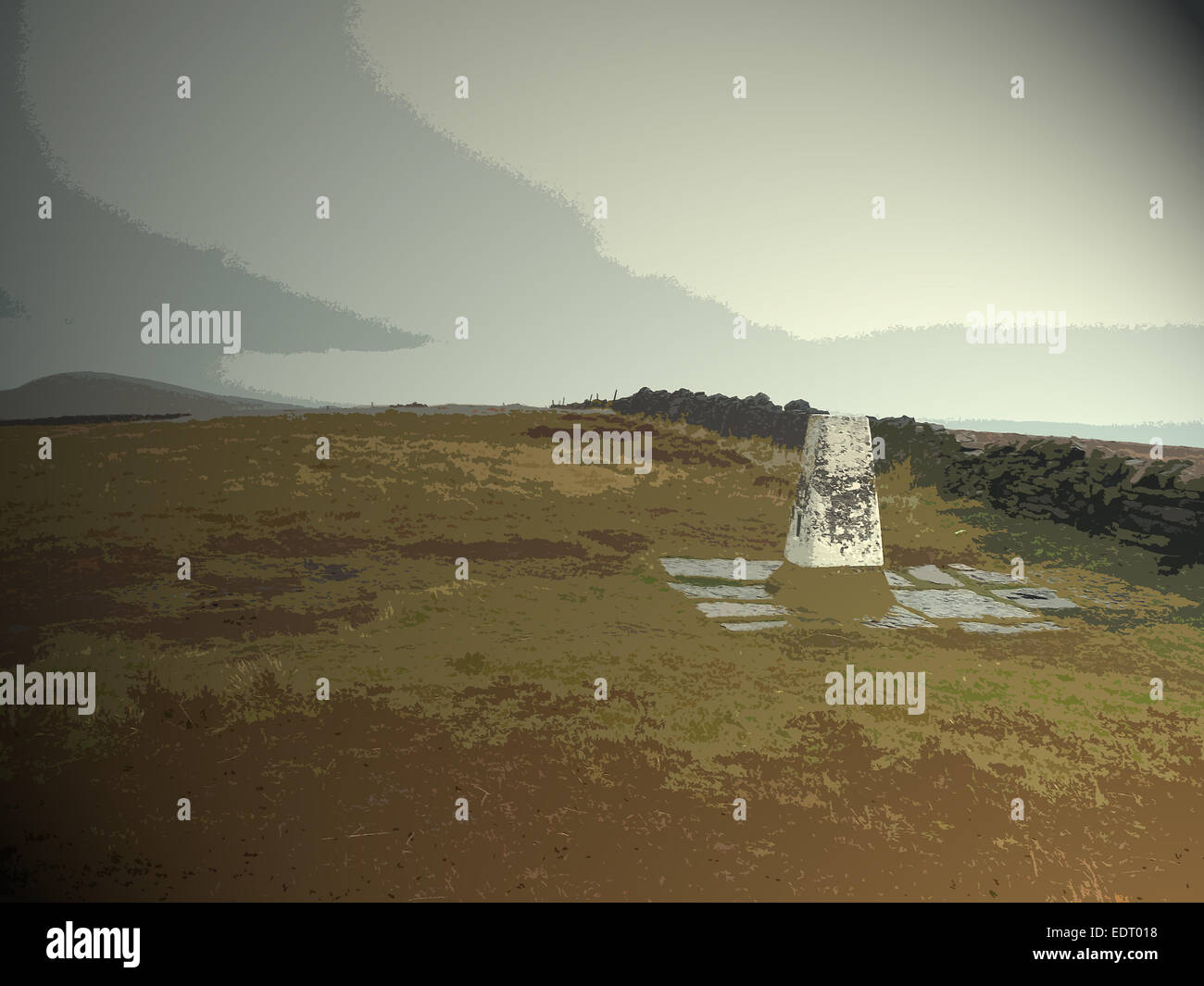 Triangulation Pillar at Shining Tor, Depending on your frame of reference this summit is the highest point in the - Stock Image