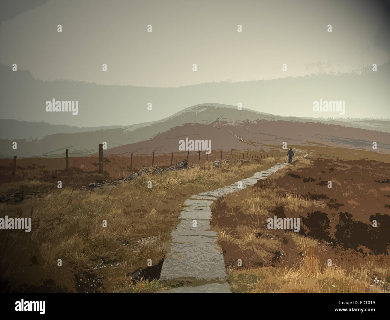 Paved Footpath near Shining Tor, Climbing towards Cats Tor on a squally and changeable Saturday in early November, - Stock Image