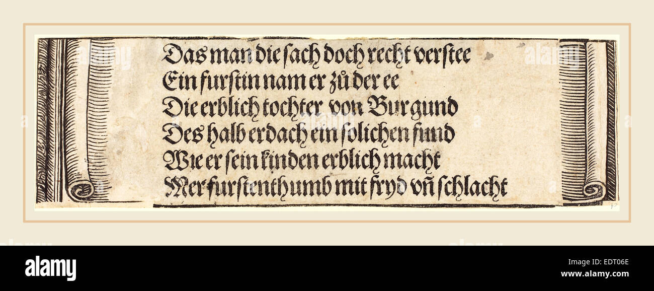Albrecht Dürer (German, 1471-1528), Printed text for 'The Betrothal of Maximilian with Mary of Burgundy', - Stock Image