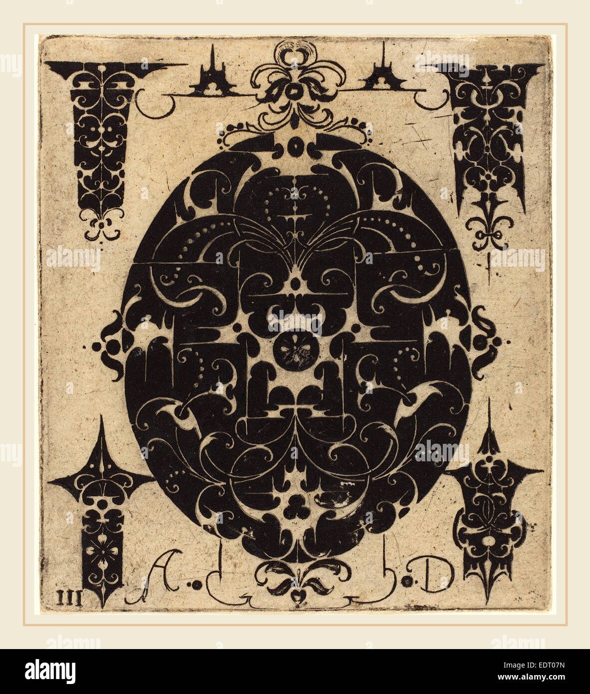 Master AD (German, active late 16th century), Ornament, engraving - Stock Image