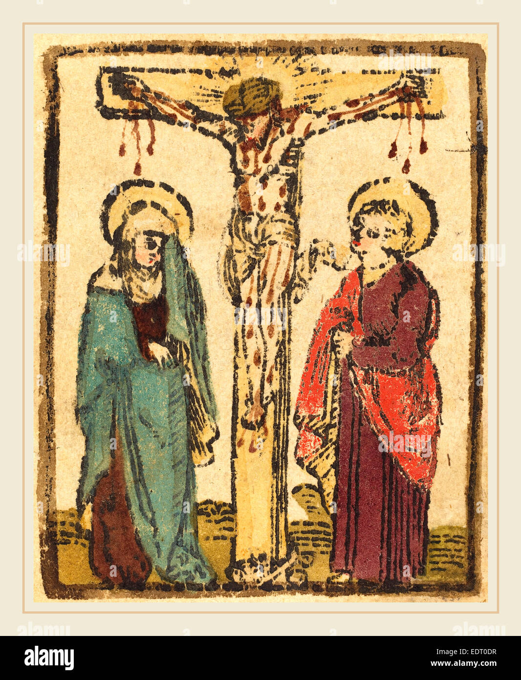 German 15th Century, Christ on the Cross, c. 1490-1500, woodcut,  hand-colored in blue-green, vermilion, lavender, brown, olive