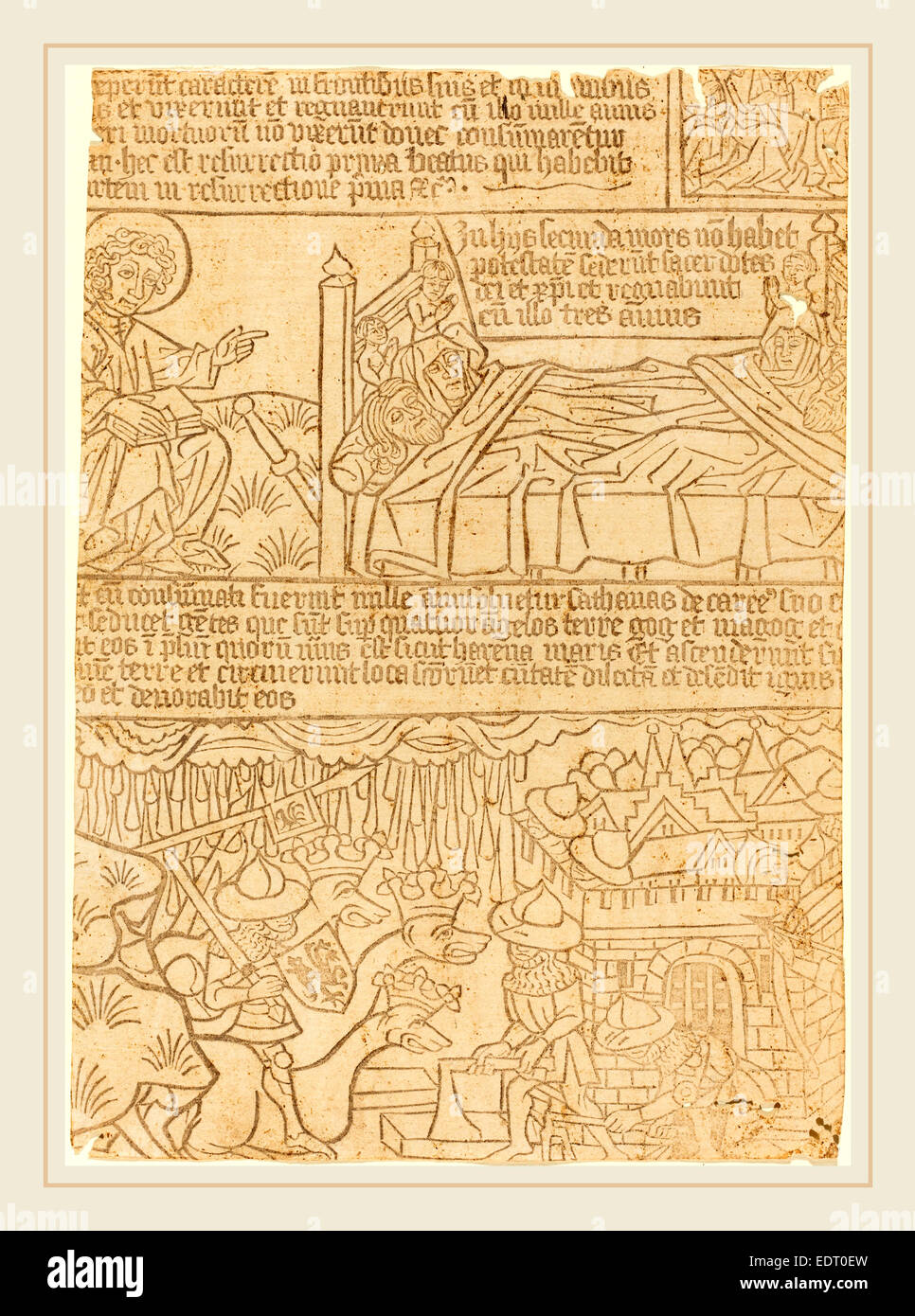 German 15th Century, Apocalypse of John, Leaf 42, c. 1465, woodcut - Stock Image