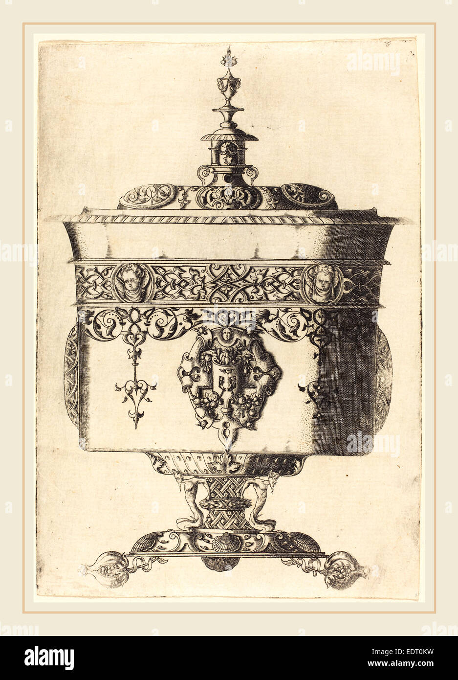 Mathis Zundt (German, probably 1498-1572), Richly Embellished Goblet, etching - Stock Image