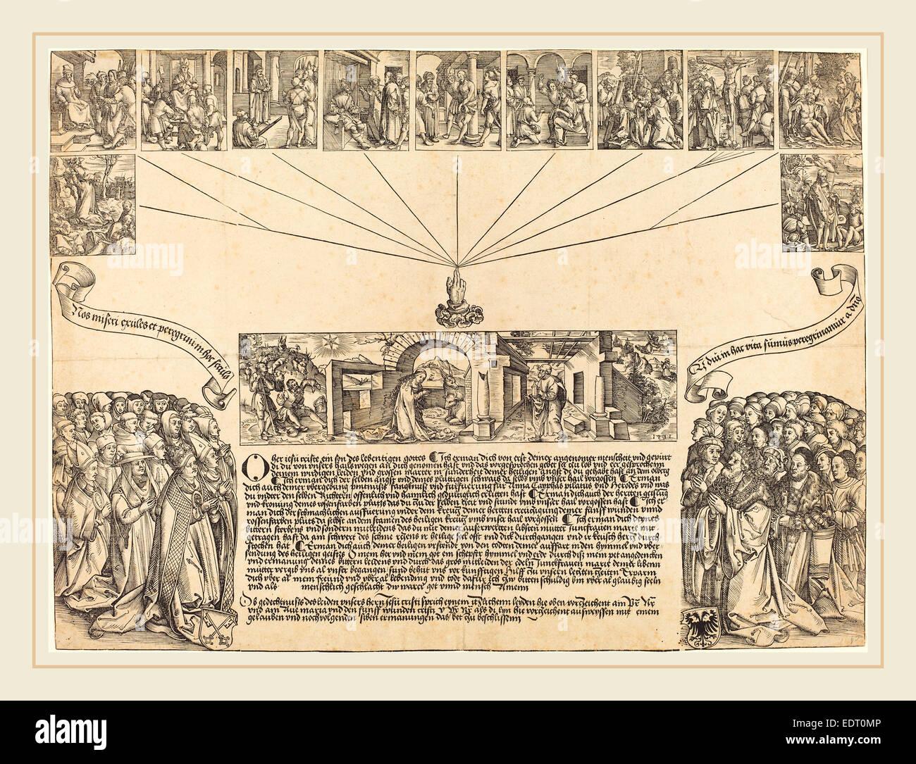 Wolf Traut (German, c. 1486-1520), The Nativity, woodcut - Stock Image