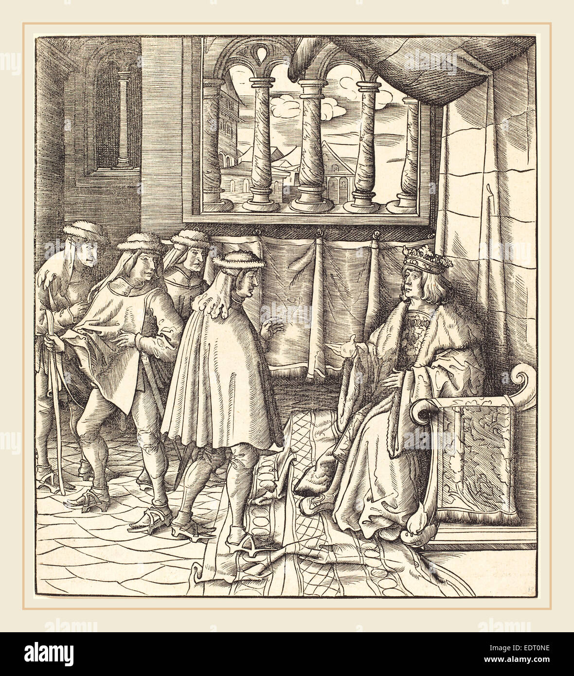 1480-1542), A King on a Throne, before him Four Men, 1514-1516, woodcut