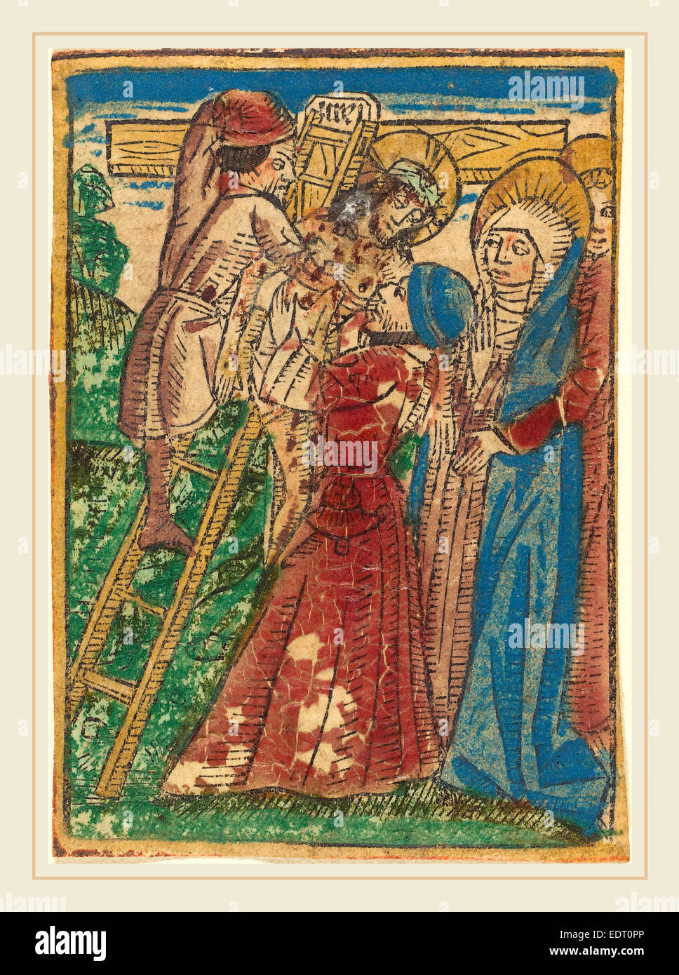 German 15th Century, Descent from the Cross, c. 1490, hand-colored woodcut - Stock Image