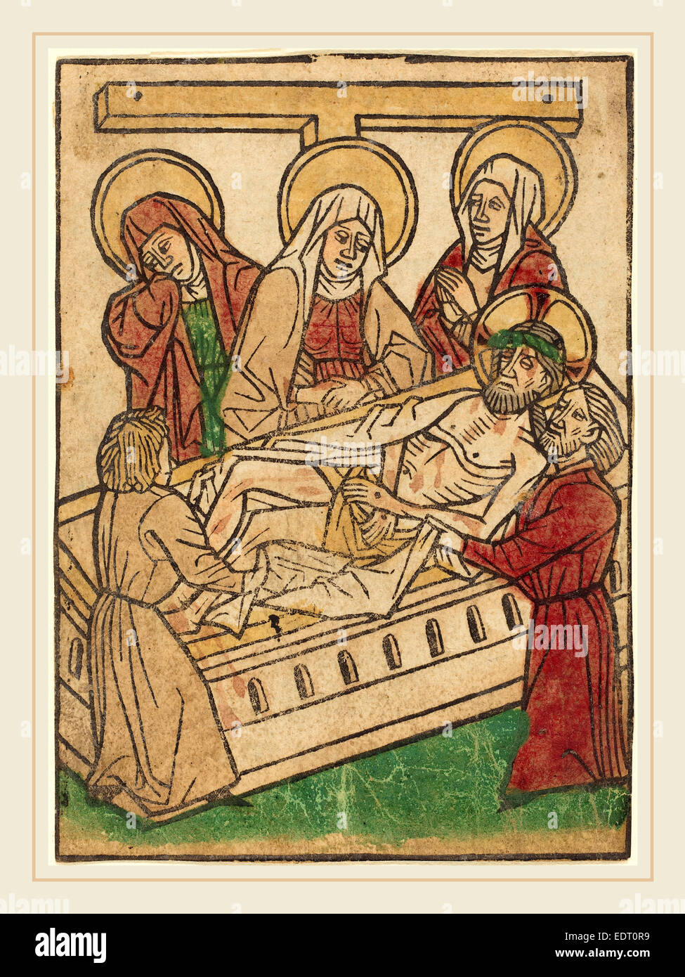 Ludwig of Ulm (German, active 1450-1470), The Entombment, hand-colored woodcut (blockbook page) - Stock Image