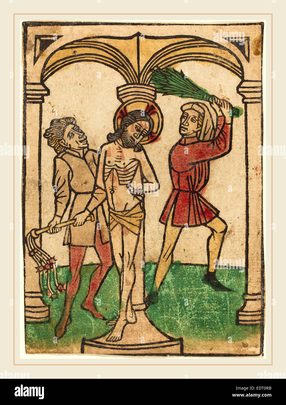 Ludwig of Ulm (German, active 1450-1470), The Flagellation, hand-colored woodcut (blockbook page) - Stock Image