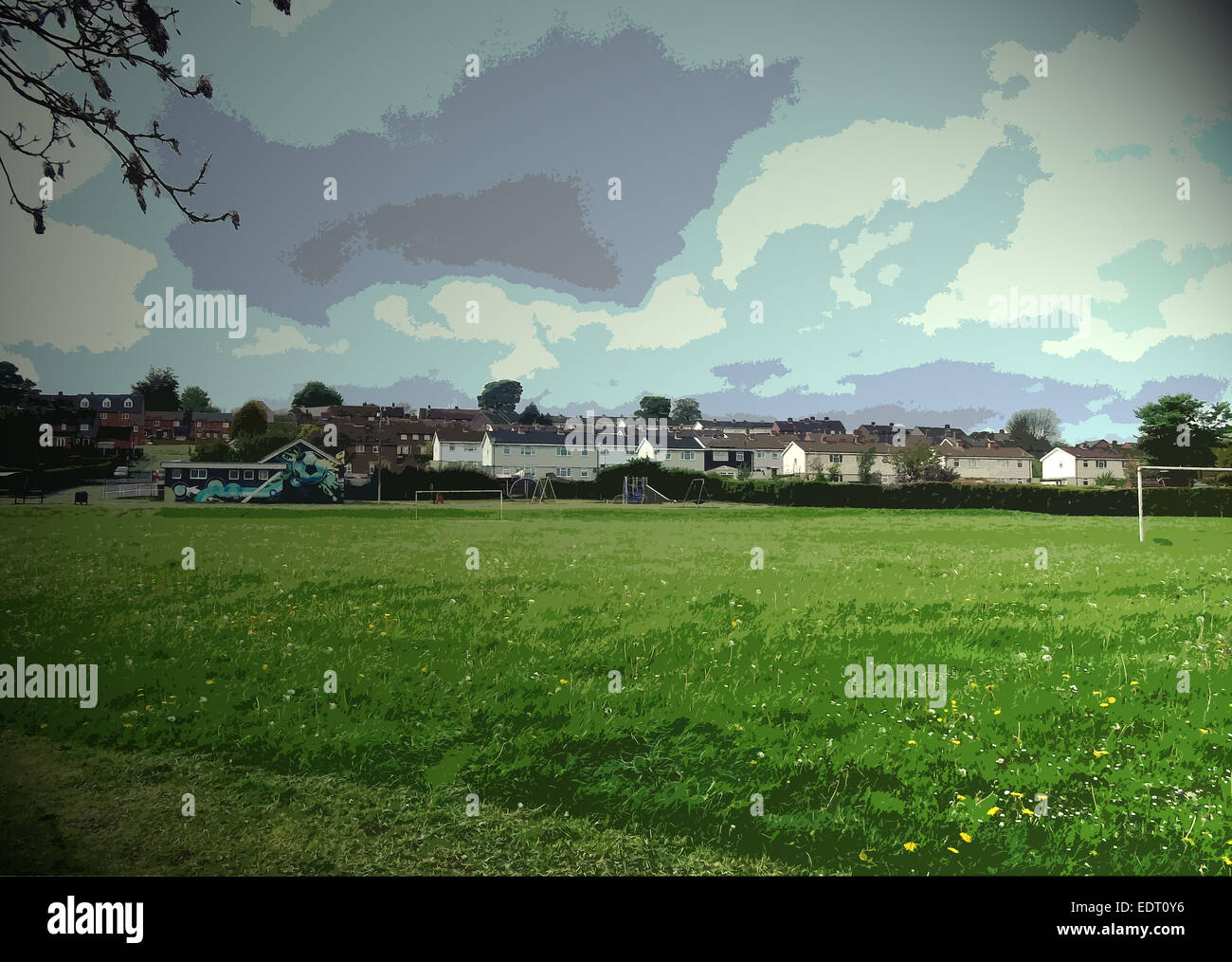 Playing Fields by the Mickley Estate, Football pitch and brightly decorated clubhouse building Stock Photo
