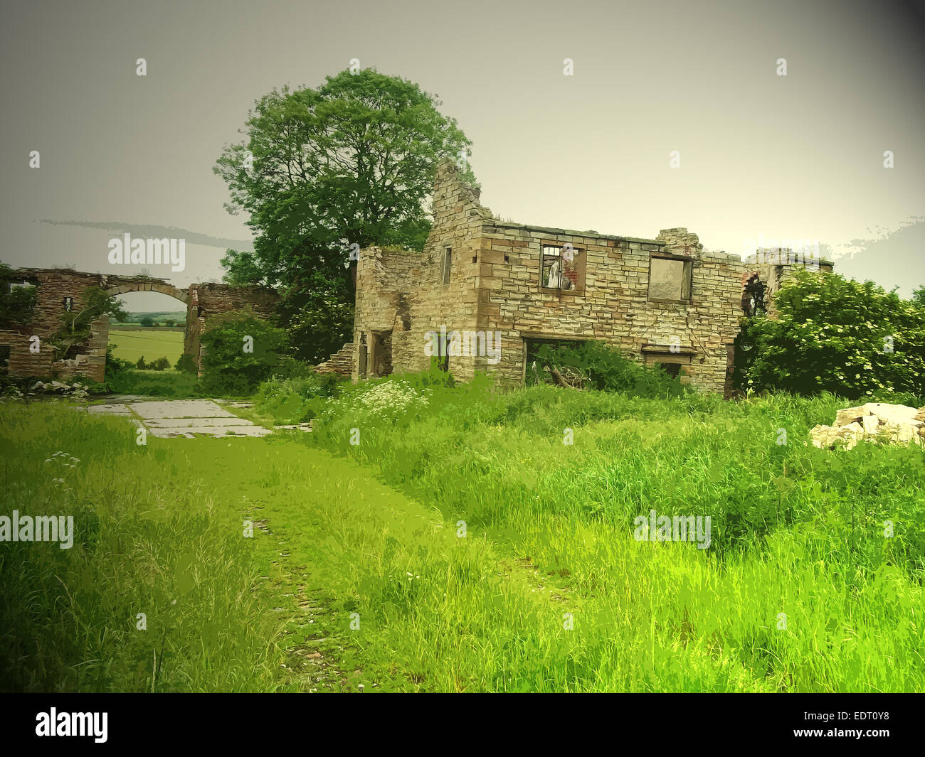 Remains of Lodge Farm, This ruin was likely to have been associated with the Sutton Scarsdale Hall estate in the Stock Photo