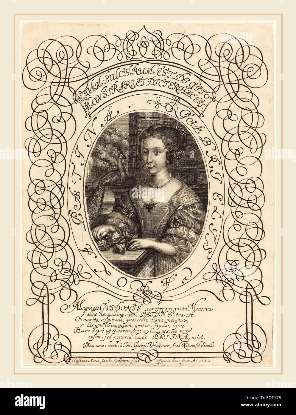 Susanne Maria von Sandrart (German, 1658-1716), Gabrielle Carola Patina, c. 1682, engraving Stock Photo