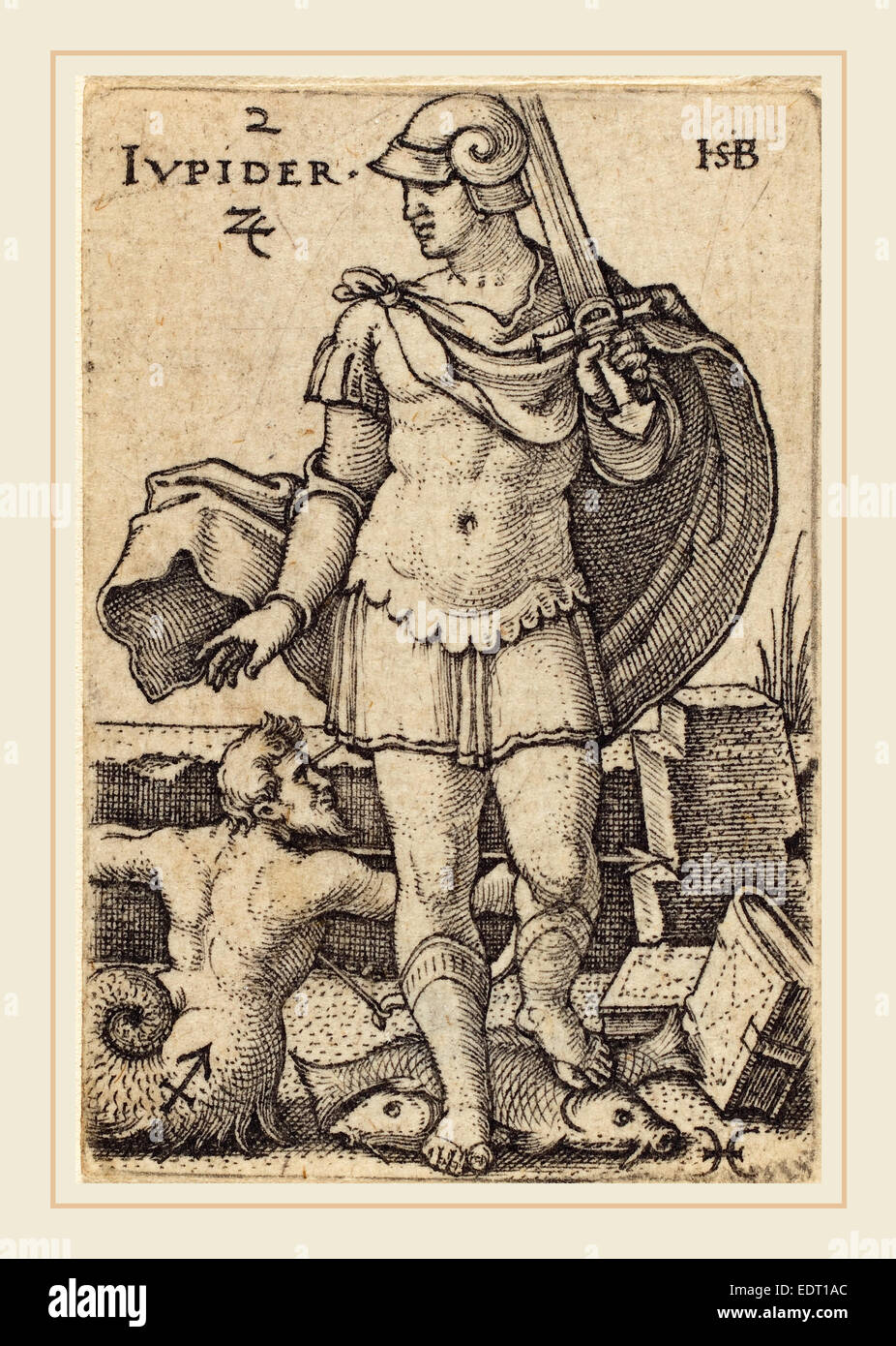 Sebald Beham (German, 1500-1550), Jupiter, engraving - Stock Image