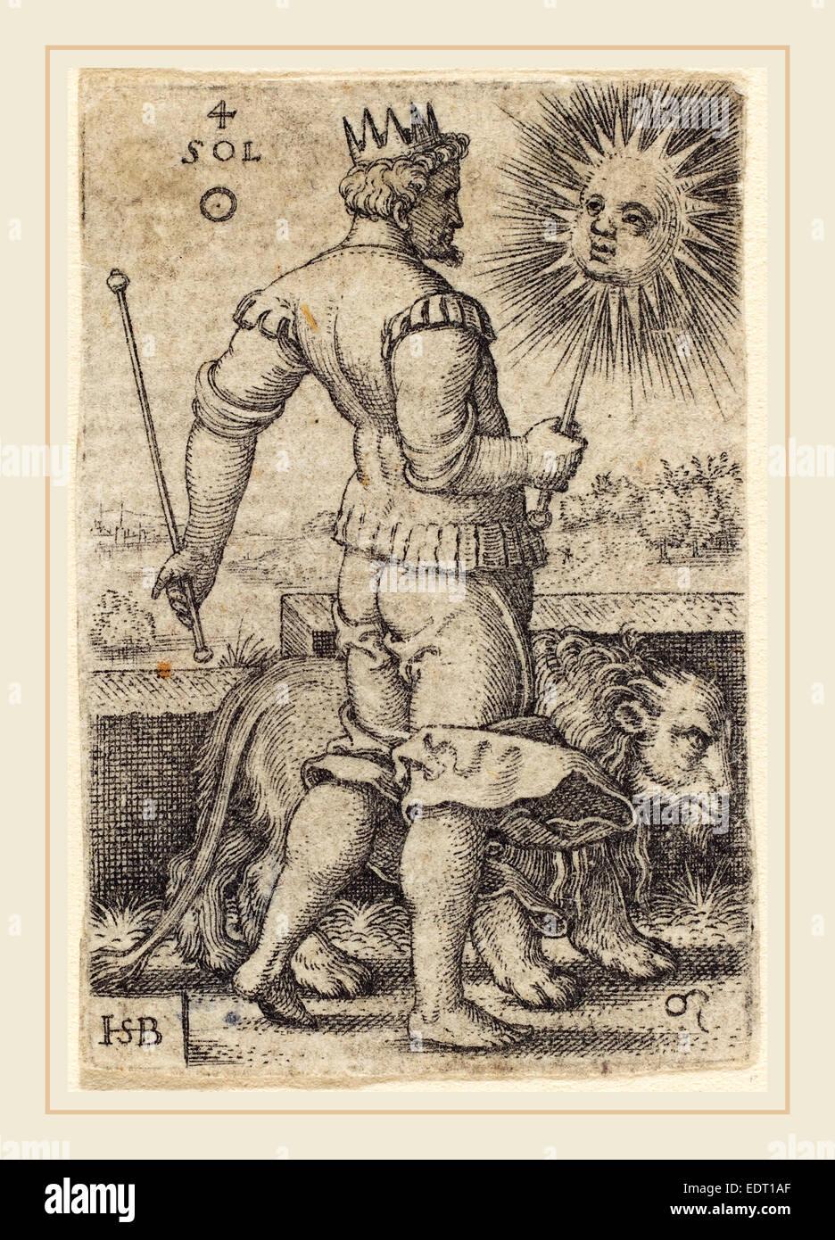 Sebald Beham (German, 1500-1550), Sol, engraving - Stock Image