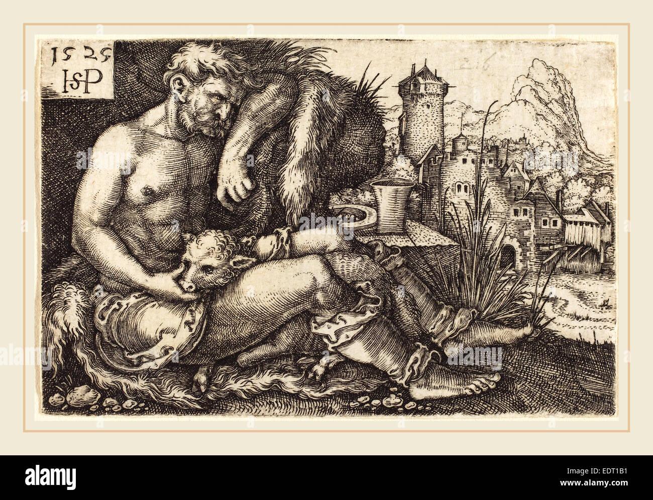 Sebald Beham (German, 1500-1550), The Shepherd, 1525, engraving - Stock Image