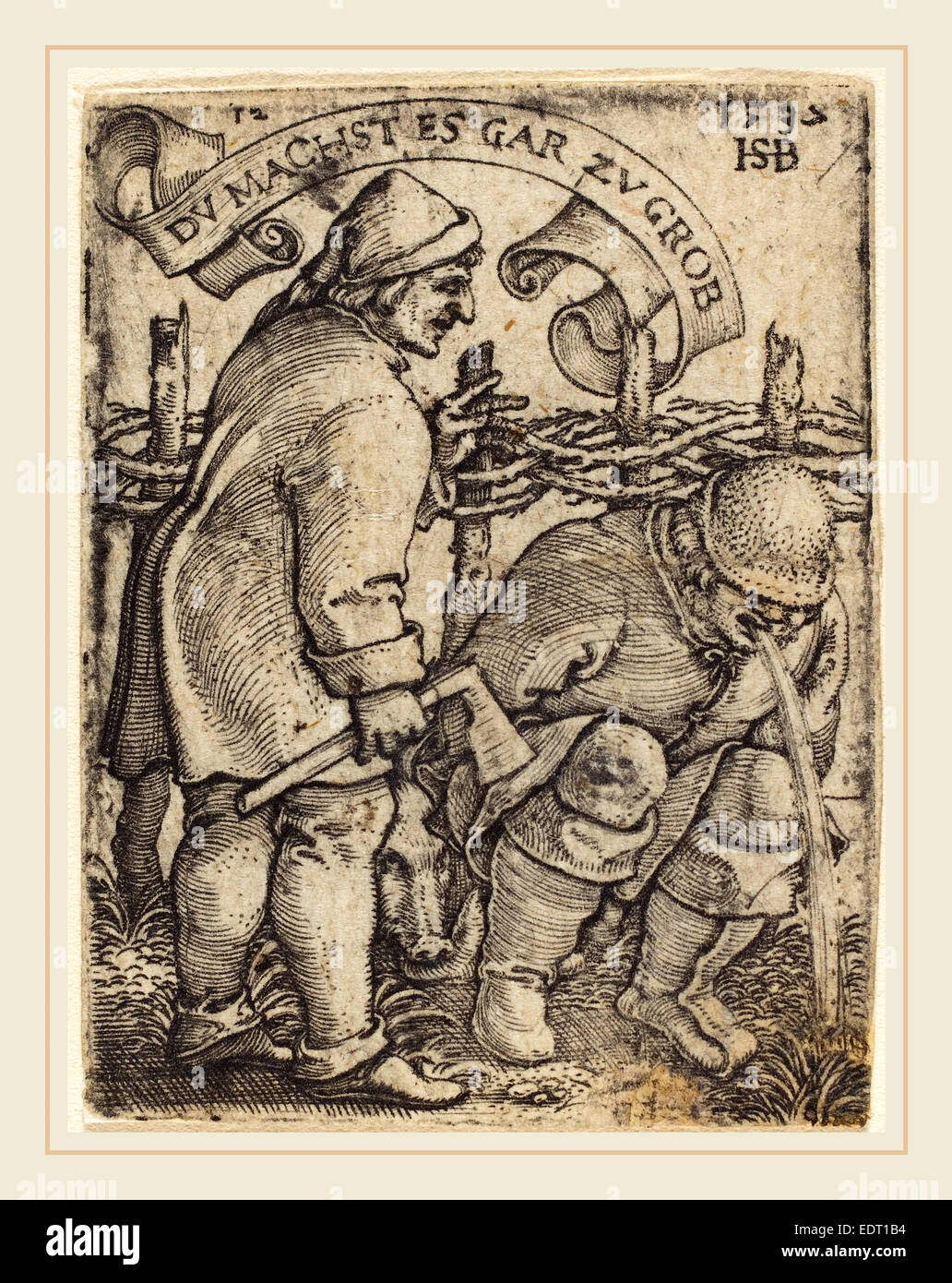 Sebald Beham (German, 1500-1550), Vomiting Peasant, engraving - Stock Image