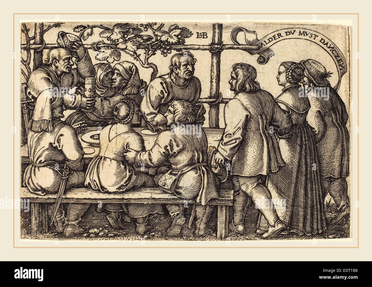 Sebald Beham (German, 1500-1550), Peasants' Feast, engraving - Stock Image