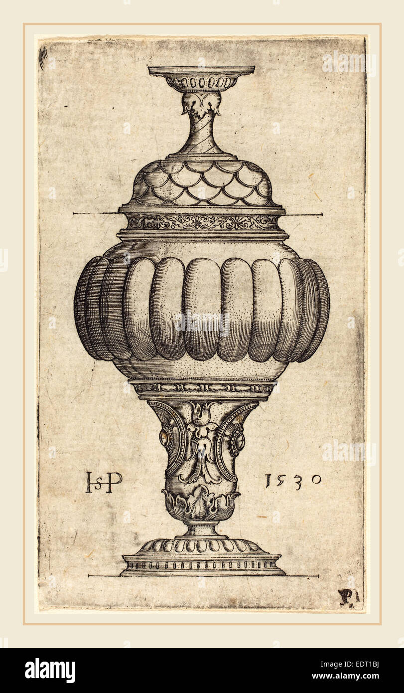 Sebald Beham (German, 1500-1550), Double Goblet with Oval Decorations, 1530, engraving - Stock Image