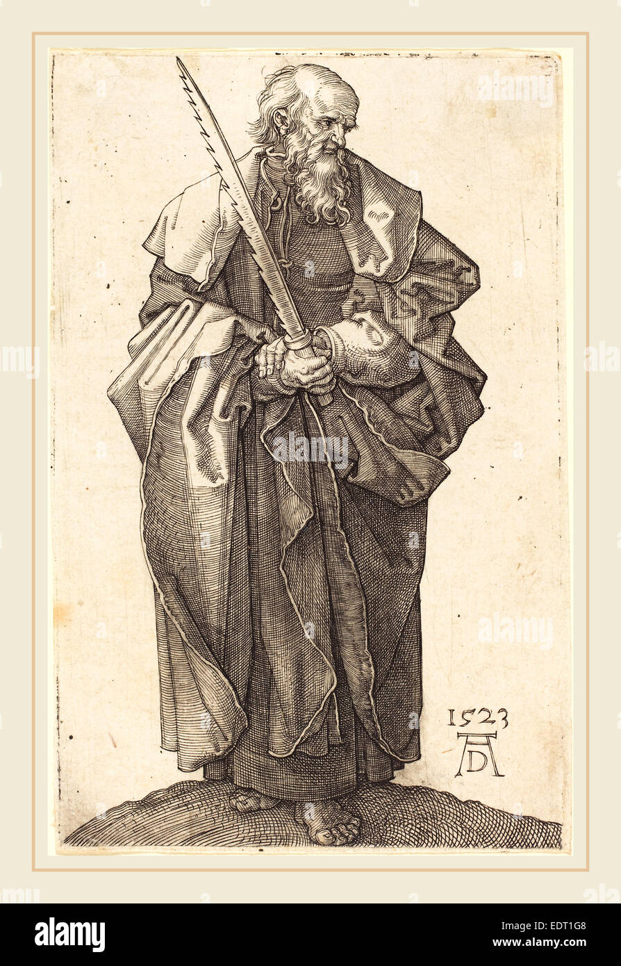 Albrecht Dürer (German, 1471-1528), Saint Simon, 1523, engraving - Stock Image
