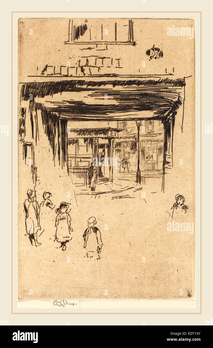 James McNeill Whistler (American, 1834-1903), Drury Lane, c. 1880-1881, etching - Stock Image