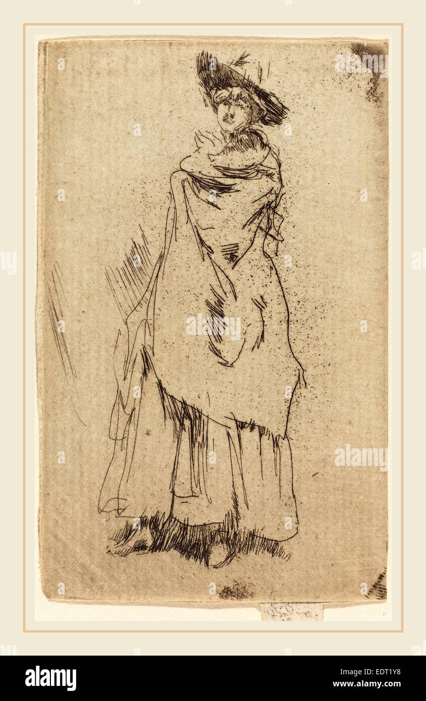 James McNeill Whistler, The Mantle, American, 1834-1903, etching - Stock Image