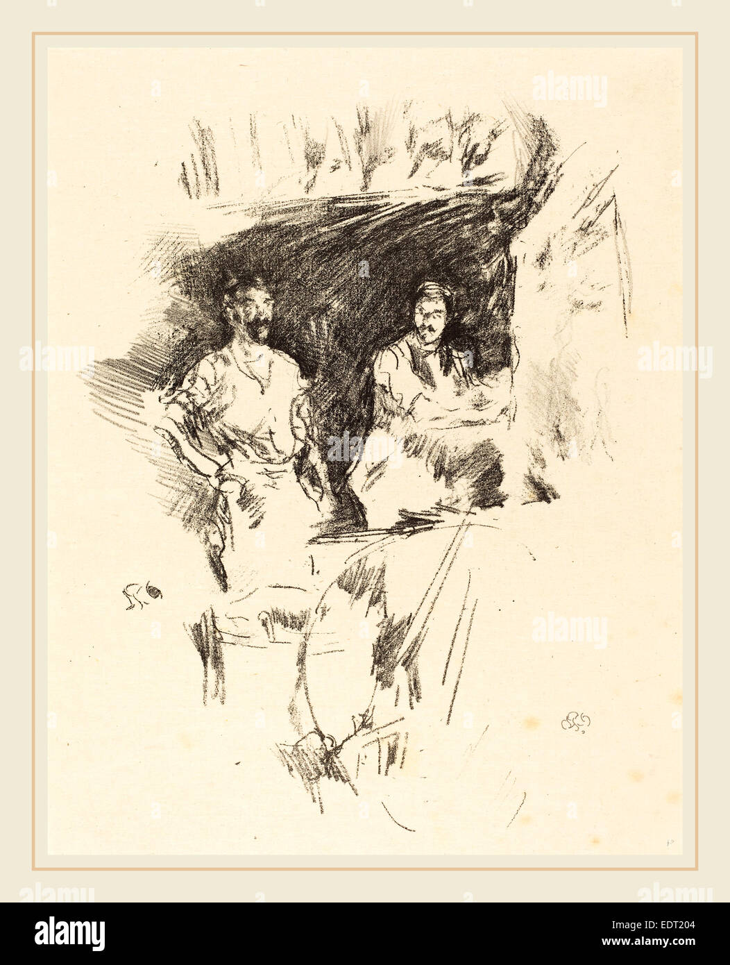 James McNeill Whistler (American, 1834-1903), The Brothers, 1895, lithograph - Stock Image