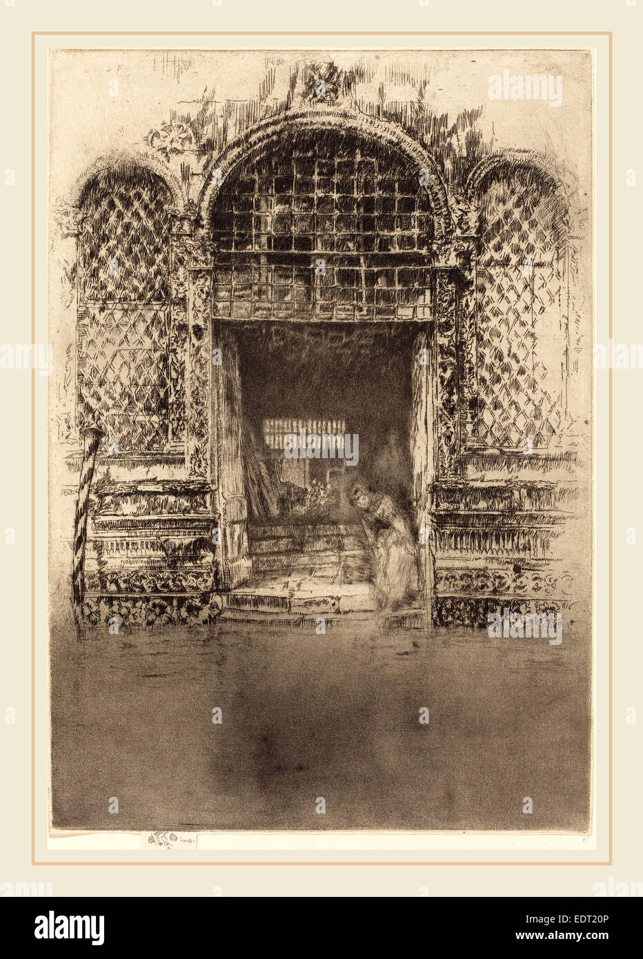 James McNeill Whistler (American, 1834-1903), The Doorway, 1880, etching - Stock Image