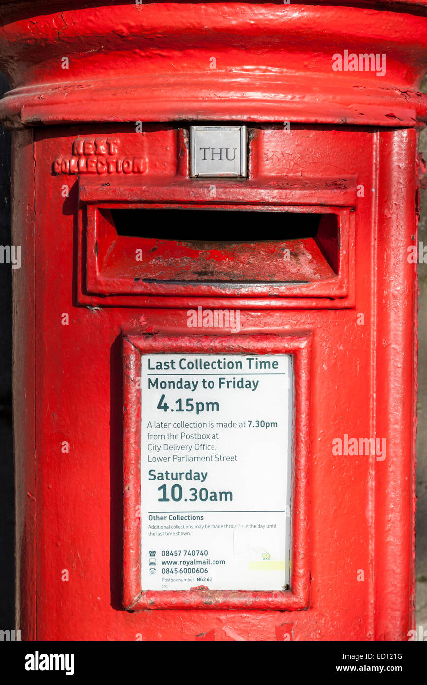 Last collection times shown on a Royal Mail postbox, Nottinghamshire, England, UK - Stock Image