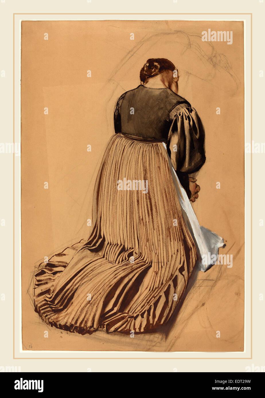 Konrad Böse, Kneeling Woman from Behind, German, 1852-1938, c.