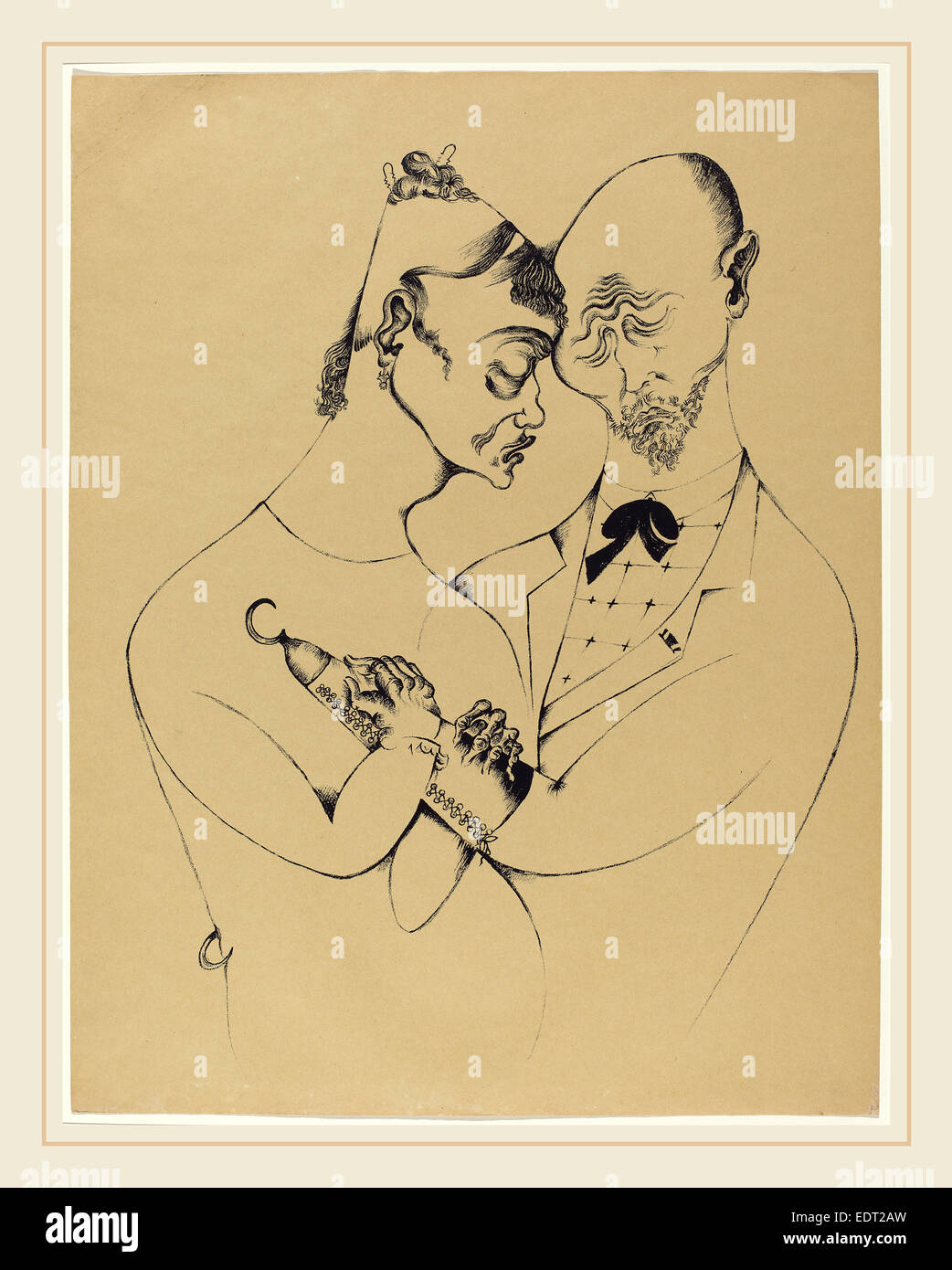 Heinrich Hoerle, Das Ehepaar (The Married Couple), German, 1895-1936, 1920, lithograph on pale brown paper - Stock Image