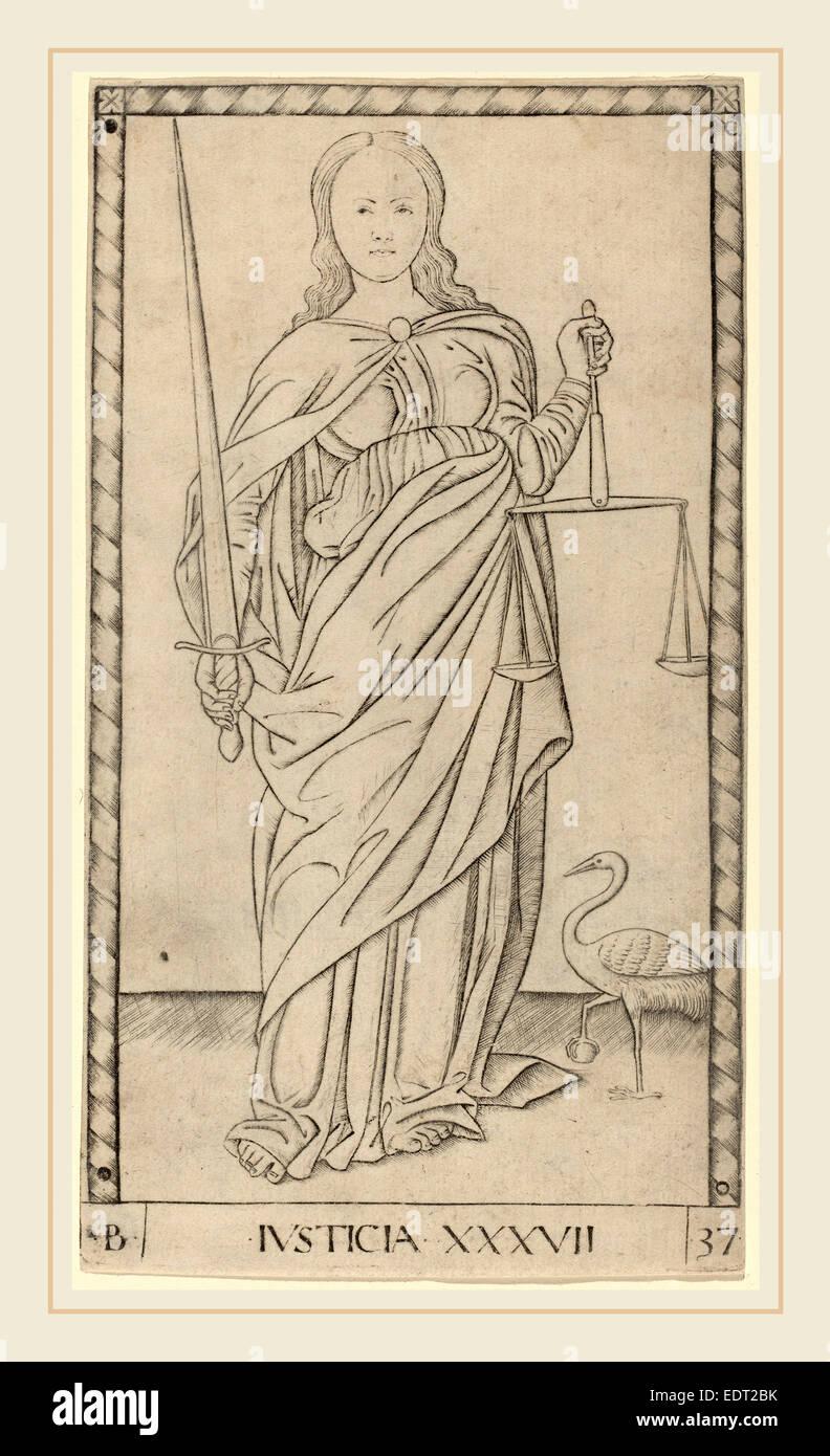 Master of the E-Series Tarocchi (Italian, active c. 1465), Justicia (Justice), c. 1465, engraving - Stock Image