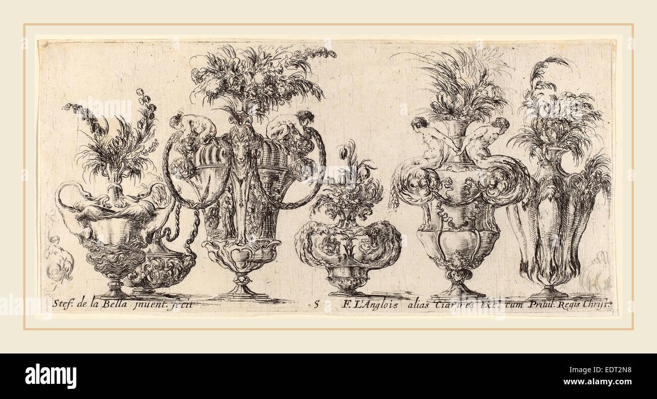 Stefano Della Bella (Italian, 1610-1664), Fantastic Vases, probably 1646, etching - Stock Image