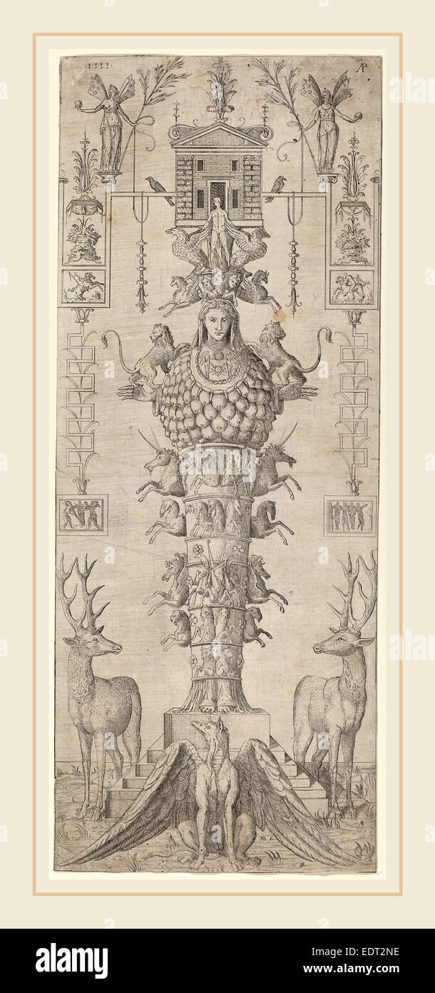 Master AP (Italian, active mid 16th century), A Grotesque with Diana of Ephesus and Diverse Animals, 1555, etching - Stock Image