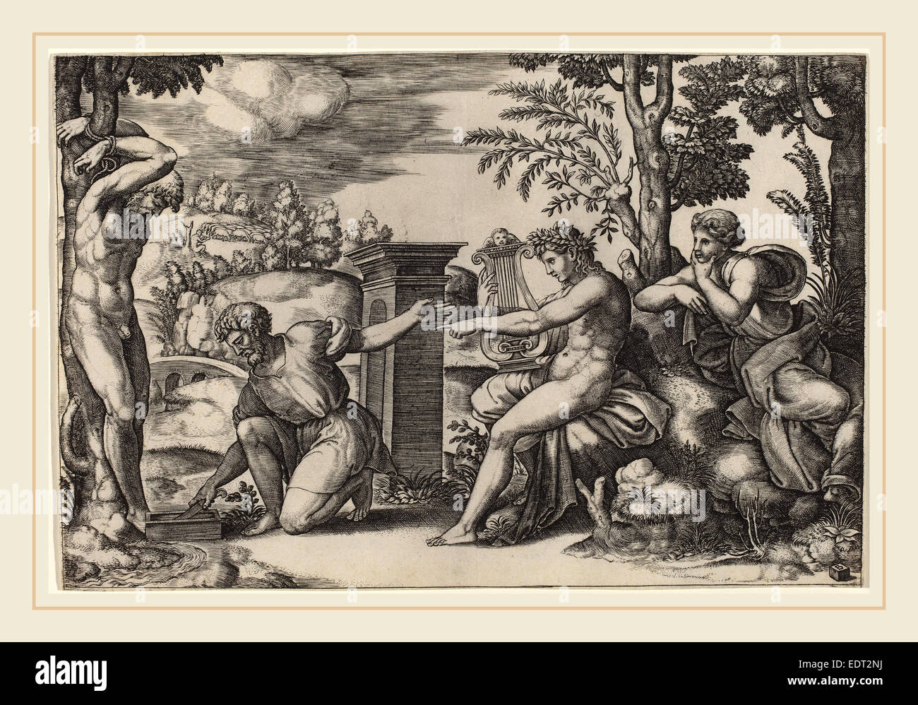 Master of the Die after Raphael (Italian, active c. 1532), Apollo and Marsyas, engraving - Stock Image