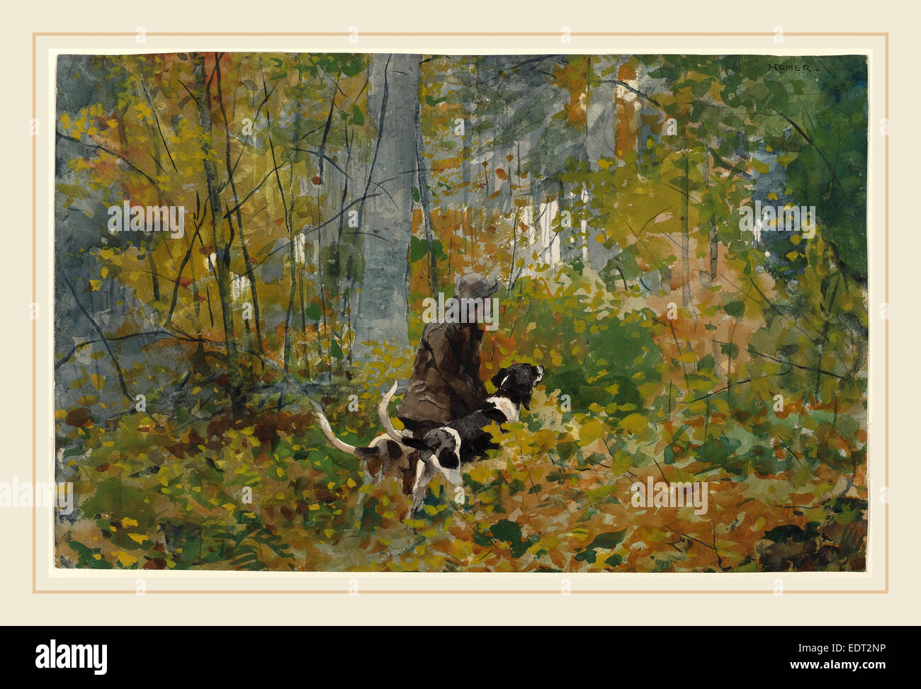 Winslow Homer (American, 1836-1910), On the Trail, c. 1892, watercolor over graphite - Stock Image