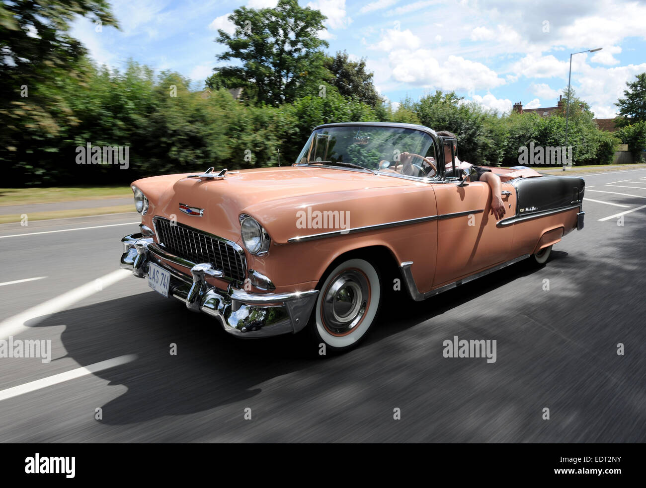 55 Chevy Bel Air Convertible, 50s American icon, rear view with ...
