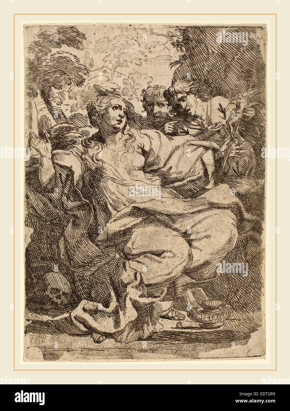 Italian 17th Century, Magdalen, etching - Stock Image