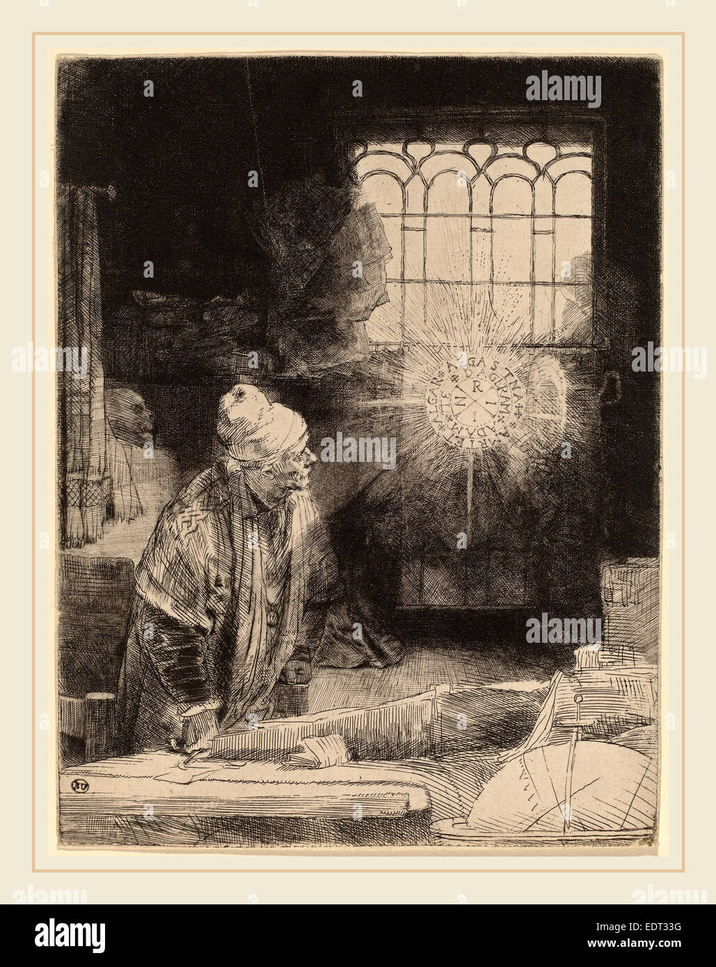 Rembrandt van Rijn (Dutch, 1606-1669), Faust, c. 1652, etching, drypoint and burin on a heavy white paper Stock Photo