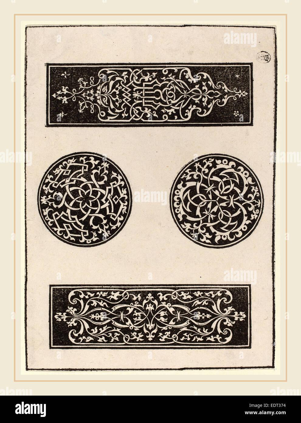 Peter Flötner, Decorative Panels, German, c. 1485-1546, 1546, woodcut - Stock Image
