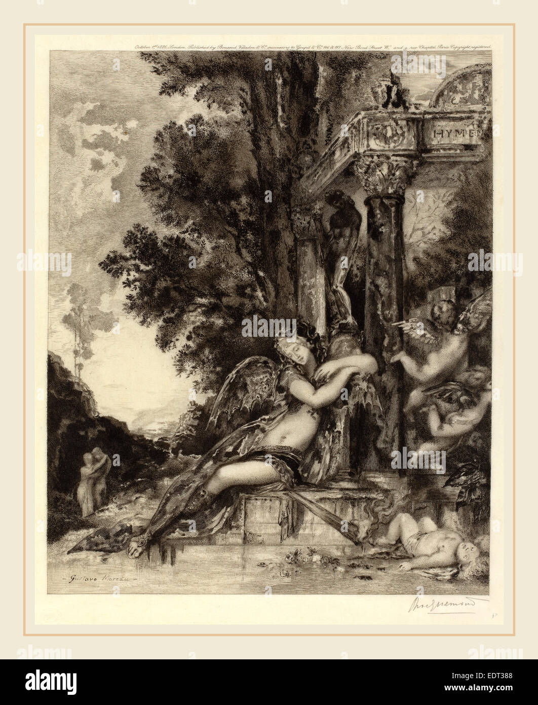 Félix Bracquemond, La dionade, French, 1833-1914, etching - Stock Image