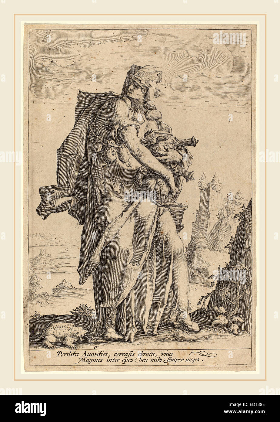 Jacob Matham, Avarice, Dutch, 1571-1631, engraving on laid paper - Stock Image